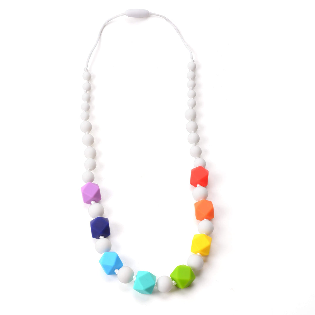 Nummy Beads Rainbow Cuboctahedron Silicone Teething Necklace