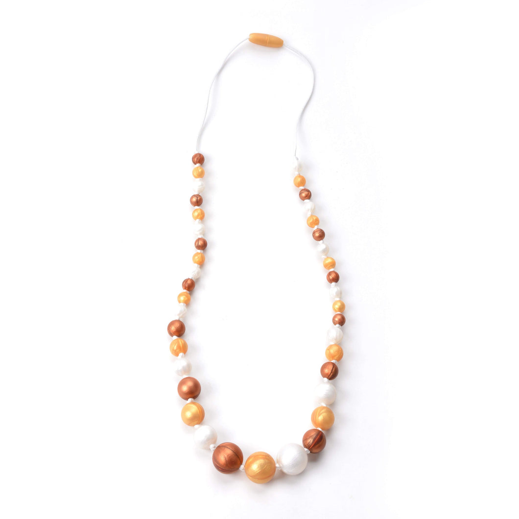 Nummy Beads Silicone Gold & Copper Pearl Silicone Teething Necklace