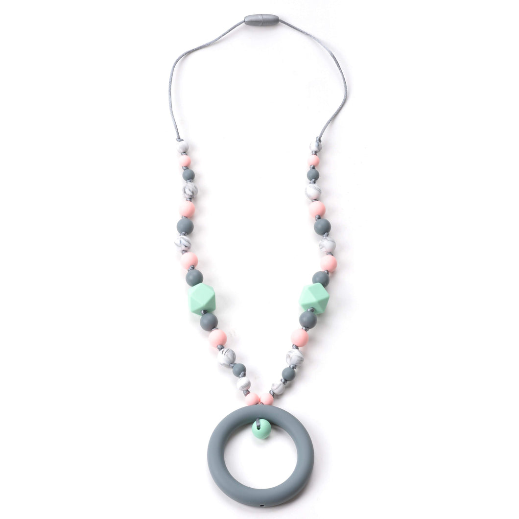 Nummy Beads Mint & Pink Ring Silicone Teething Necklace