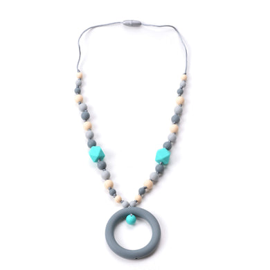 Nummy Beads Turquoise & Gray Ring Silicone Teething Necklace