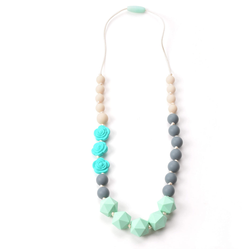 Nummy Beads Turquoise Rose Silicone Teething Necklace