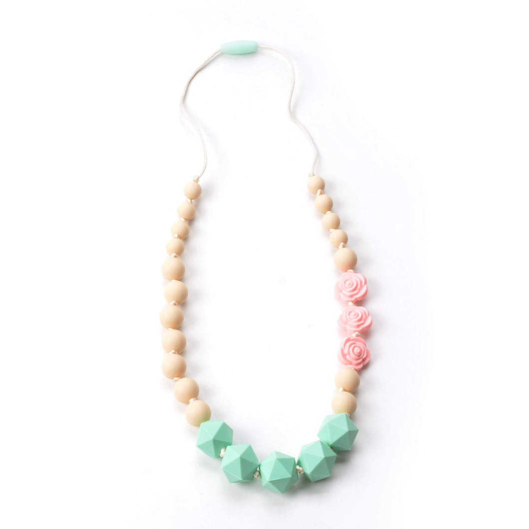 Nummy Beads Pink Rose Silicone Teething Necklace