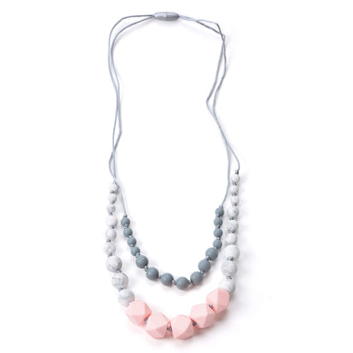Nummy Beads Two Strand Pink Silicone Teething Necklace