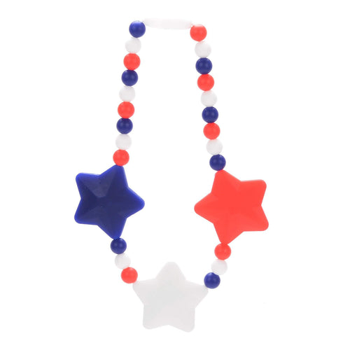 Nummy Beads Red, White & Blue Stars Baby Carrier Teether Toy