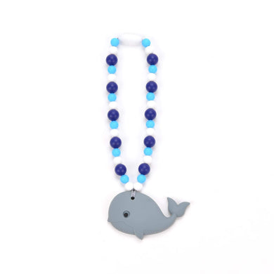 Nummy Beads Gray Whale with Blue Beads Baby Carrier Teether Toy