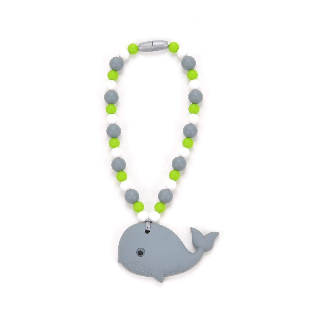 Nummy Beads Gray Whale with Green Beads Baby Carrier Teether Toy