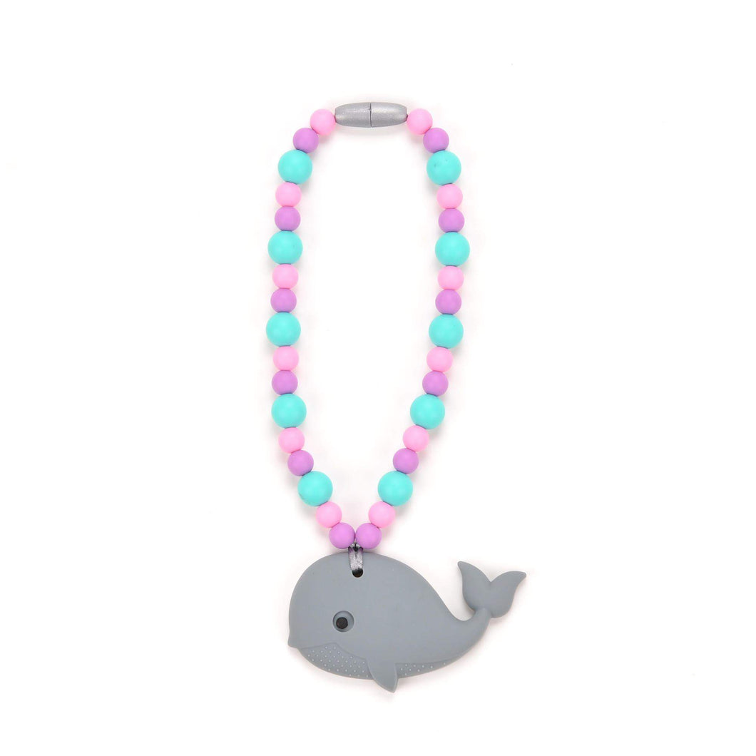 Nummy Beads Gray Whale with Pink & Blue Beads Baby Carrier Teether Toy