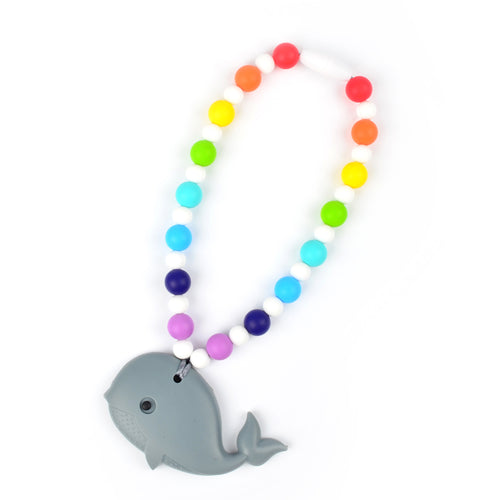 Gray Whale with Rainbow Beads Baby Carrier Teether Toy