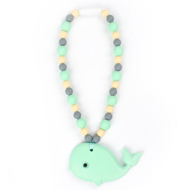 Mint Whale with Navajo White & Mint Beads Baby Carrier Teether Toy