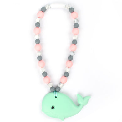 Mint Whale with Rose & Marble Beads Baby Carrier Teether Toy