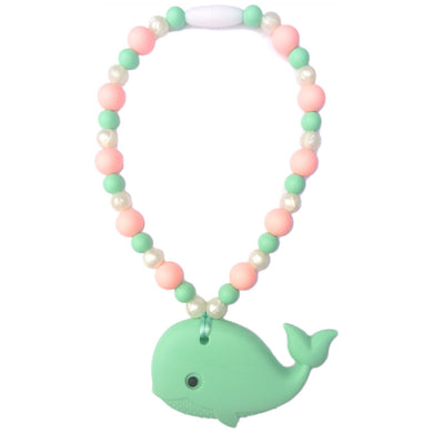 Mint Whale with Rose & Pearl Beads Baby Carrier Teether Toy