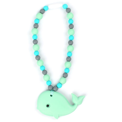 Mint Whale with Turquoise Beads Baby Carrier Teether Toy