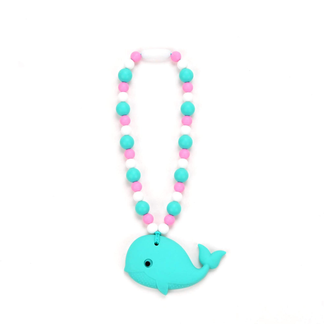 Nummy Beads Turquoise Whale with Pink and Blue Beads Baby Carrier Teether Toy