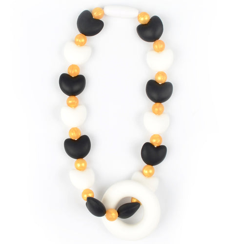 Black & White Hearts with Gold Beads Baby Carrier Teether Toy