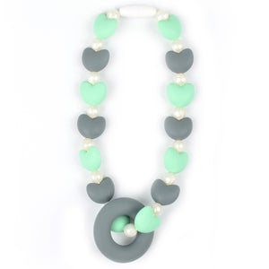 Mint & Gray Hearts Baby Carrier Teether Toy
