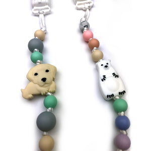 Dog & Polar Bear Silicone Pacifier Clip 2pk