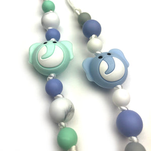 Blue & Green Elephants Silicone Pacifier Clip 2pk