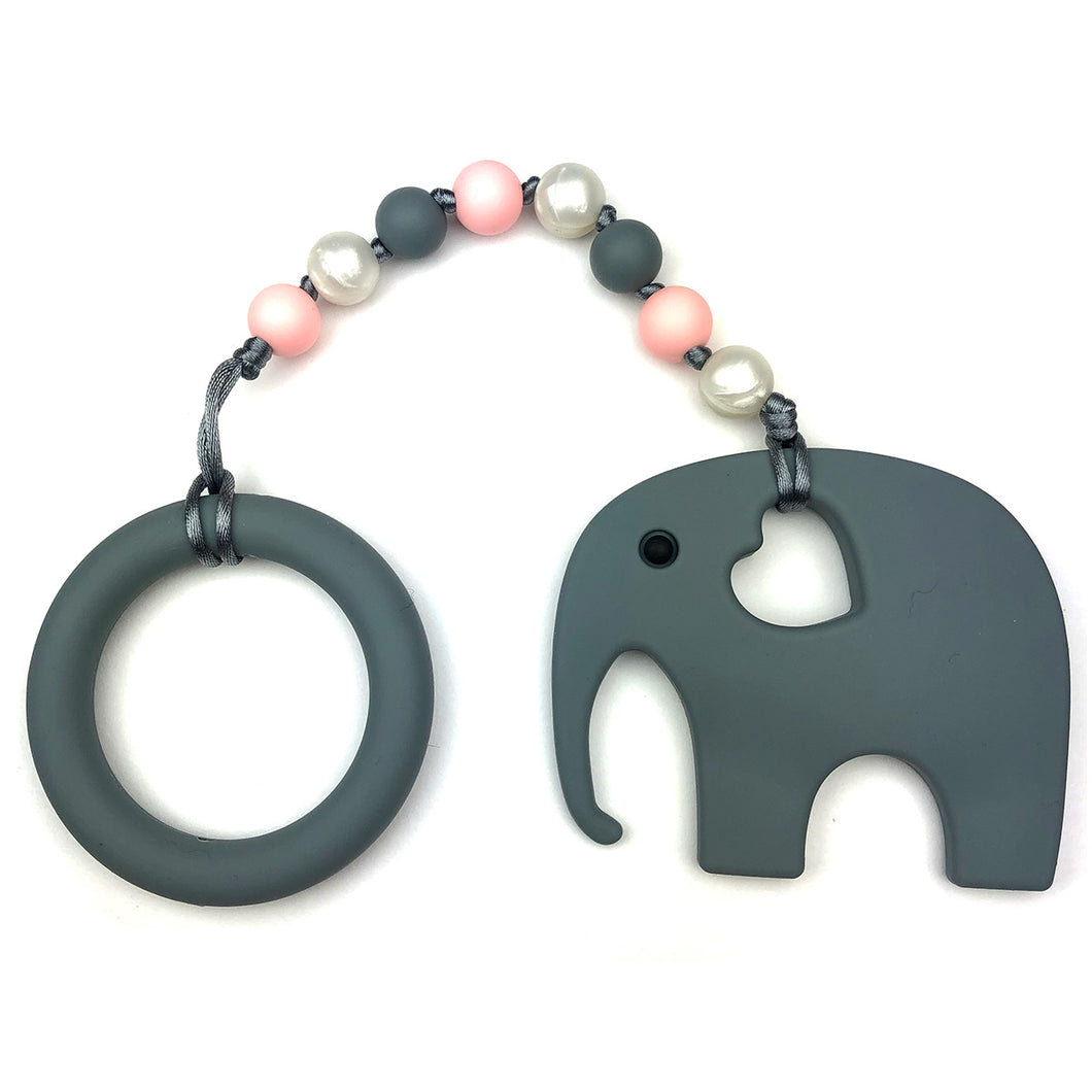 Gray Elephant with Ring and Pink Beads Baby Teether Toy