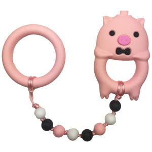 Pink Pig with Ring Baby Teether Toy