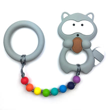 Rainbow Raccoon with Ring Baby Teether Toy