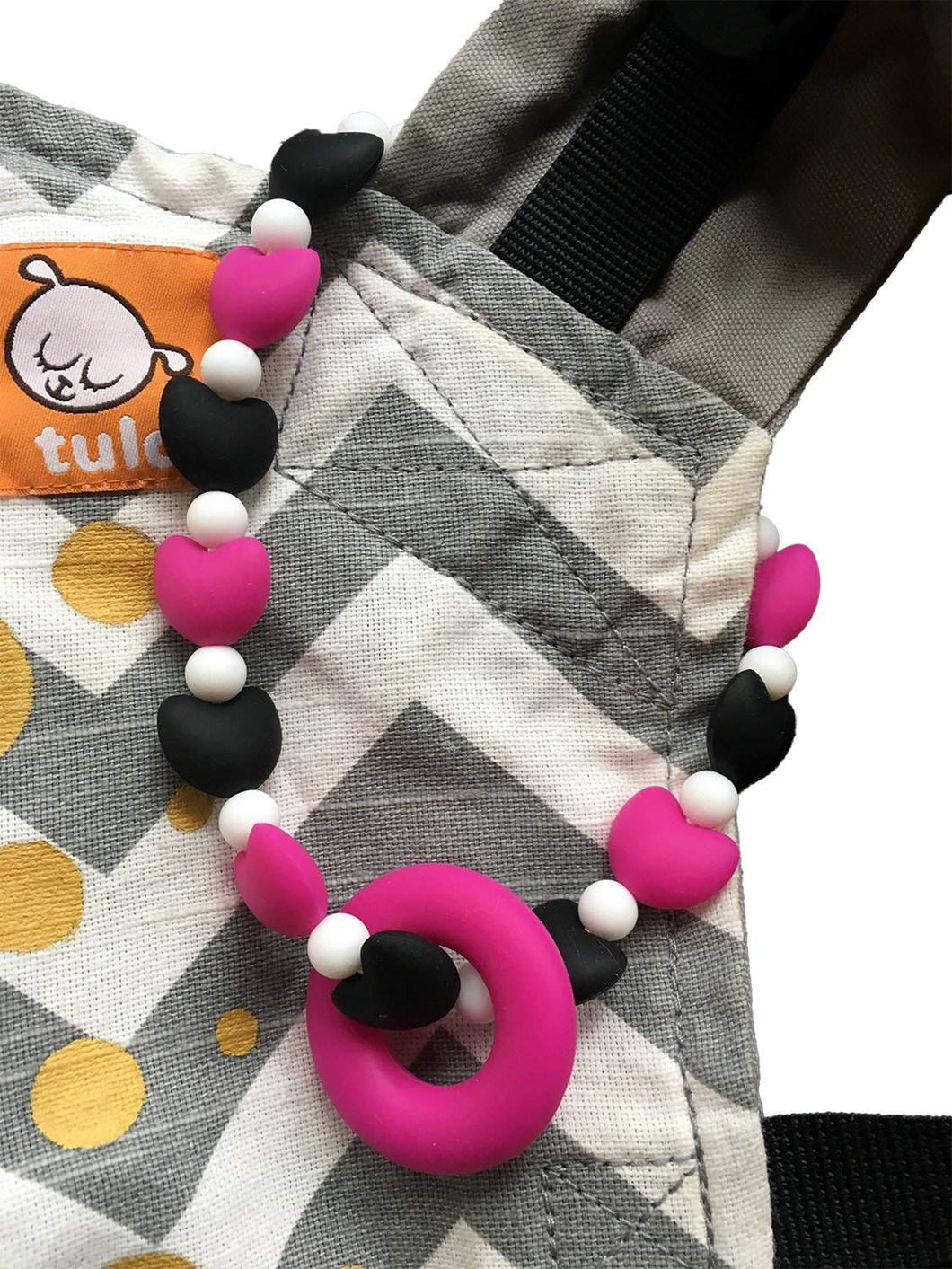 Pink Hearts Baby Carrier Teether Toy