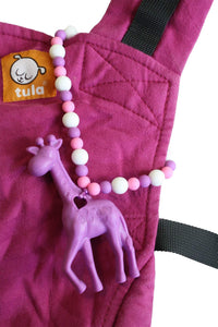 Purple Giraffe Baby Carrier Teether Toy