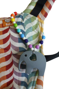 Rainbow Elephant Baby Carrier Teether Toy