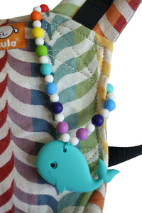 Turquoise Whale with Rainbow Beads Baby Carrier Teether Toy