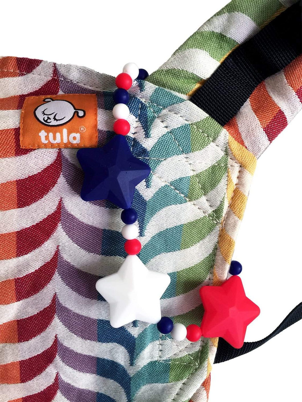 Red, White & Blue Stars Baby Carrier Teether Toy