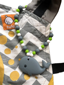 Gray Whale with Green Beads Baby Carrier Teether Toy