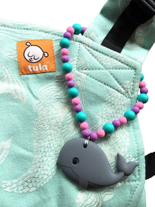 Gray Whale with Pink & Blue Beads Baby Carrier Teether Toy