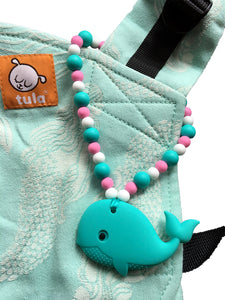 Turquoise Whale with Pink and Blue Beads Baby Carrier Teether Toy