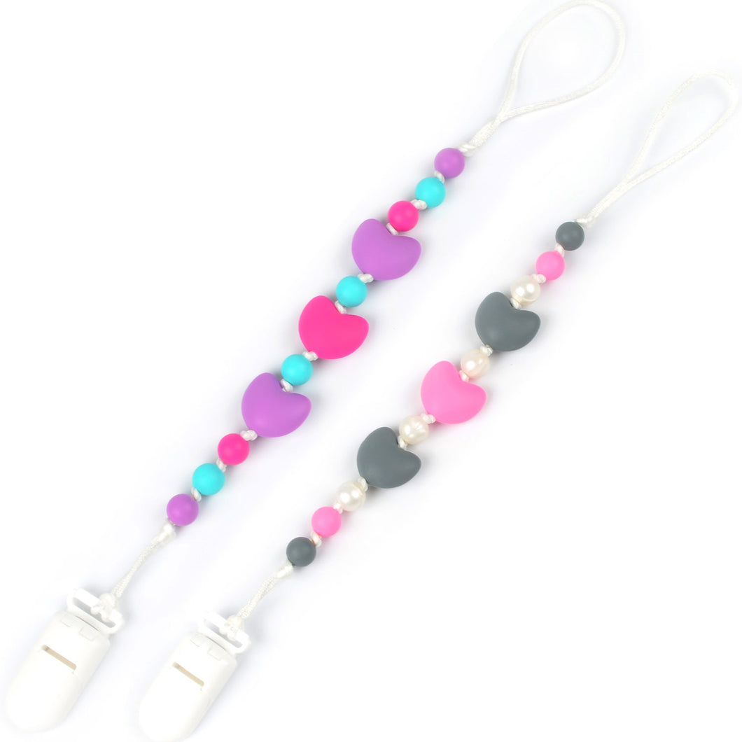 Light & Dark Pink Hearts Pacifier Clip 2pk