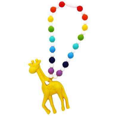 Yellow Rainbow Giraffe Baby Carrier Teether Toy
