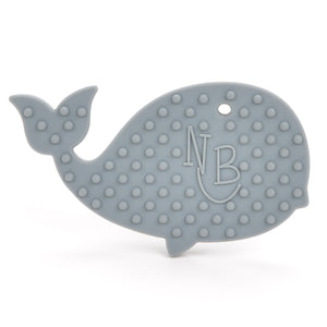 Gray Whale with Blue Beads Baby Carrier Teether Toy