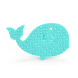 Turquoise Whale with Blue Beads Baby Carrier Teether Toy