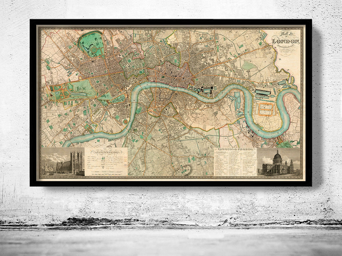 Victorian old london map 1830 england old maps and posters by victorian old london map 1830 england gumiabroncs Gallery