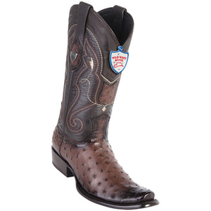 Men's Wild West Genuine Ostrich Boots Dubai Toe Faded Brown