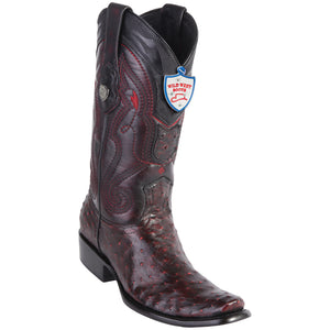 Men's Wild West Genuine Ostrich Boots Dubai Toe Black Cherry