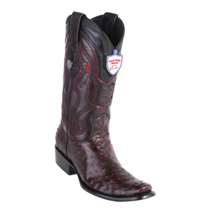 Men's Dubai  Boot Genuine Ostrich - Black Cherry - H79
