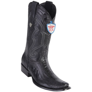 Men's Wild West Genuine Ostrich Leg Boots Dubai Toe Black