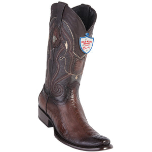 Men's Wild West Genuine Ostrich Leg Boots Dubai Toe Faded Brown
