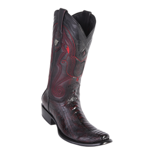 Men's Dubai  Boot Genuine Ostrich Leg -  Black Cherry - H79