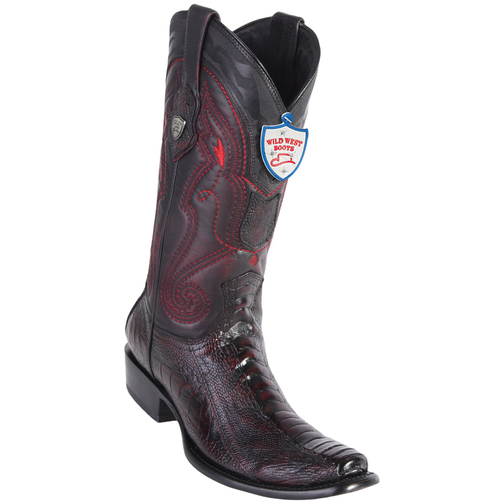 Men's Wild West Genuine Ostrich Leg Boots Dubai Toe Black Cherry