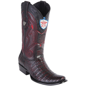 Men's Wild West Genuine Caiman Belly Boots Dubai Toe Black Cherry