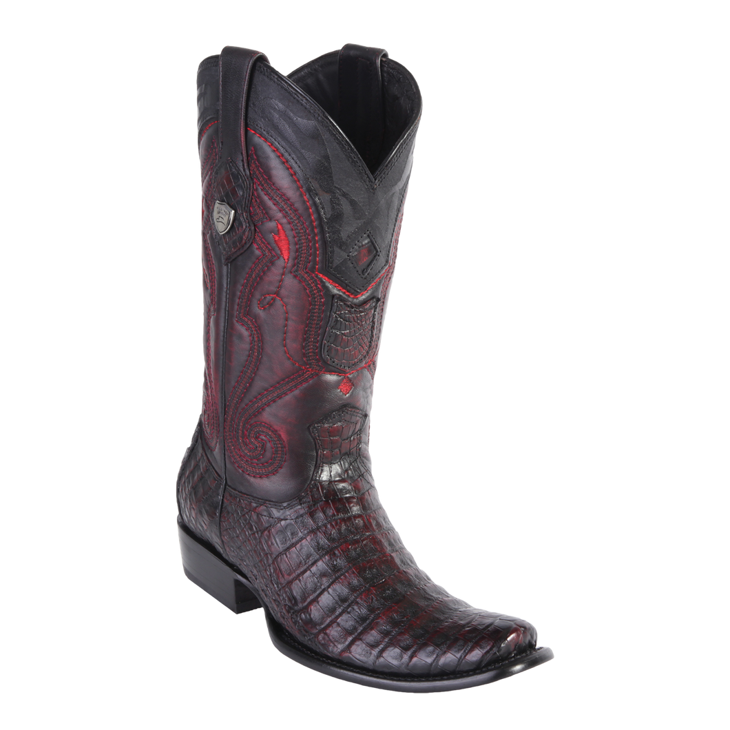 Men's Dubai  Boot Genuine Caiman Belly - Black Cherry - H79
