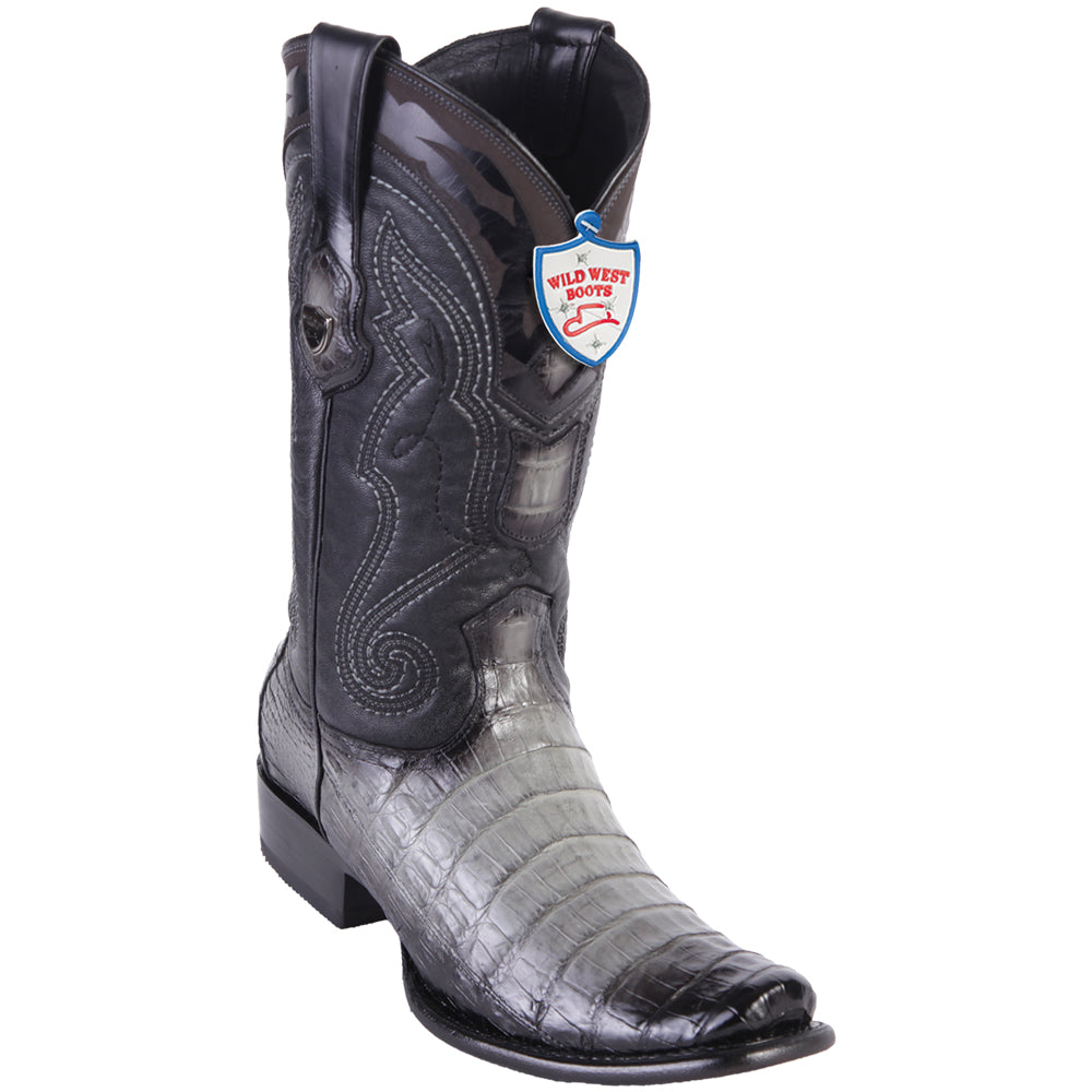 Men's Wild West Genuine Caiman Belly Boots Dubai Toe Faded Gray