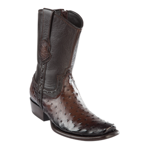 Men's Dubai Short Boot Genuine Ostrich - Faded Brown - H79B