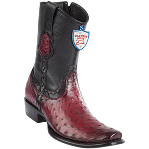 Men's Wild West Genuine Ostrich Boots Dubai Toe Faded Burgundy