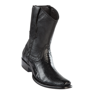 Men's Dubai Short Boot Genuine Ostrich Leg - Black - H79B